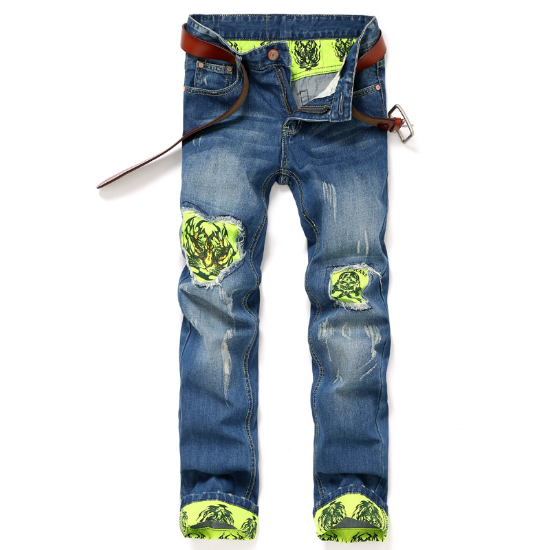 Tiger Patch Printing Jeans Men Denim Blue Ripped Jeans Straight Trousers 28-38 High Quality Cotton Mens Brand Jeans patch jeans ripped trousers male slim straight denim blue jeans men high quality famous brand men s jeans dsel plus size 5704