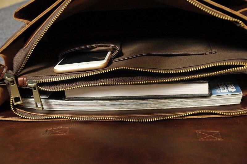 ZYJ Vintage Men 39 s Business Leather Laptop Briefcase Bags Sling Travel Causal Shoulder Messenger Portfolio Bag Lawer Handbag in Briefcases from Luggage amp Bags