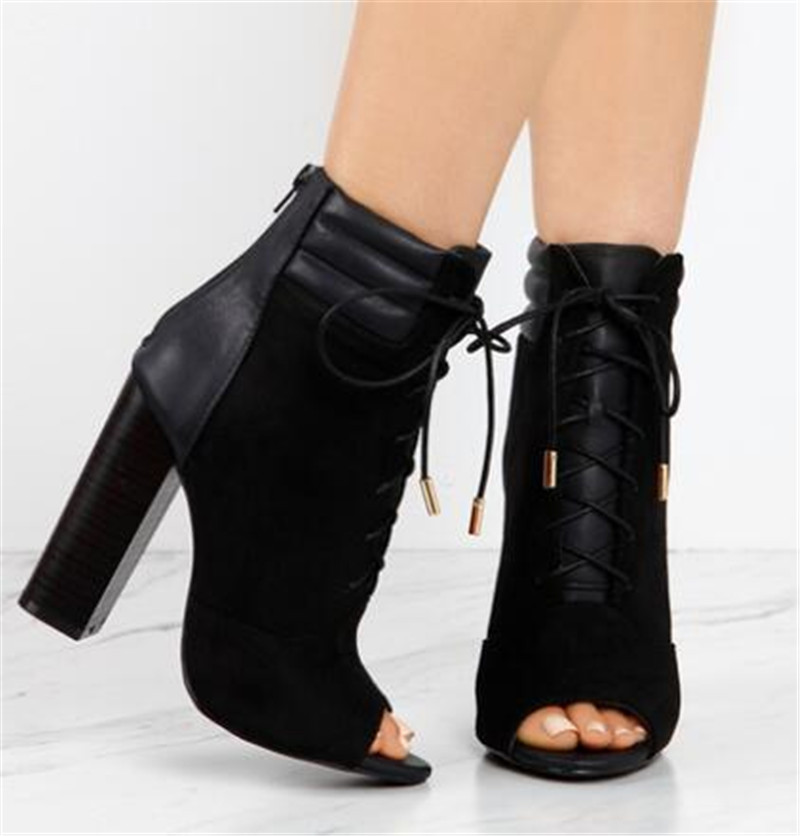 New Design Women Elegant Black Suede-Leather Patchwork Lace-up Chunky Heel Short Boots Open Toe Thick Heel Ankle Booties black sequins embellished open back lace up top