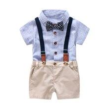 青と白のストライプロンパース服セット夏のスーツのための弓の幼児の子供スーツセット幼児の少年服