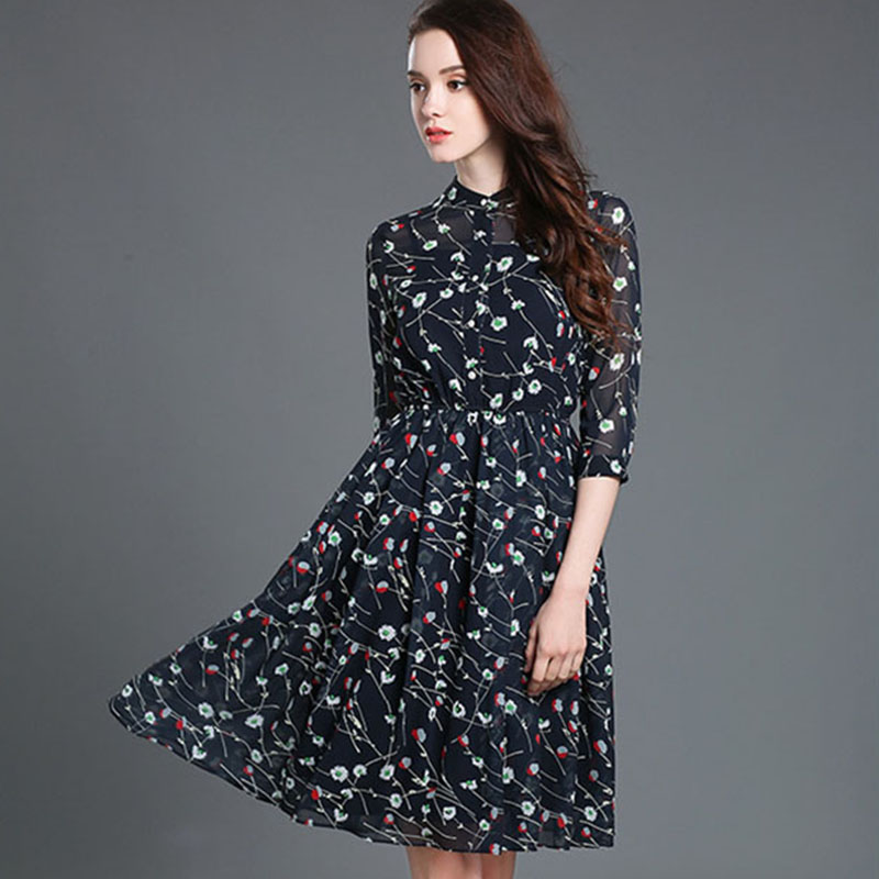 Knee Length Print Dress