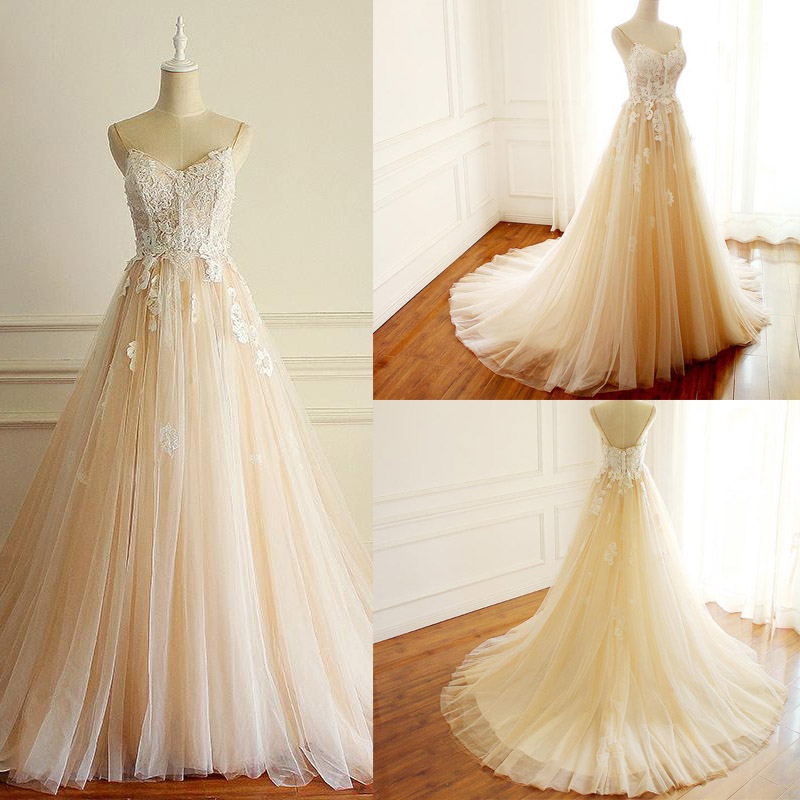 Spaghetti Straps A-line Long Custom Cheap Wedding Bridal Dresses with Lace Applique Backless Court Train Bridal Dress