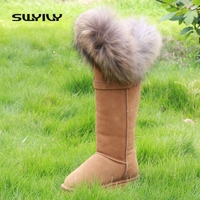 2015 Winter Boots Fur Nature Leather Snow Boots Top Quality Long Women Fur Snowboots