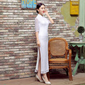 Vintage Elegant White Chinese FemaleTradition Qipao Lace Long Cheong-sam Tang Suit Dress Vestido De Festa Size S M L XL XXL