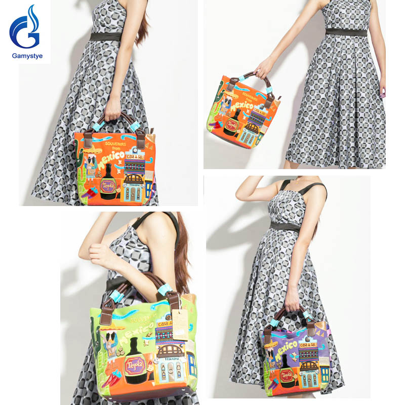 Gamystye  women canvas bags Shoulder bolsos Italy Handbag Retro Handmade Bolsa Feminina embroidered bag Ladies mexico bags