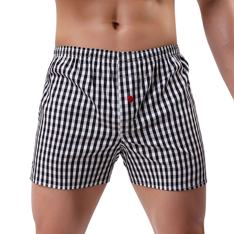 MJARTORIA Mens Breathable Plaid Printing Short Pajamas Pants Soft Sleepwear Summer Beach Casual Loose Soft Comfortable Shorts