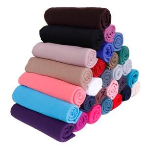 Image 1 - High quality jersey scarf cotton plain elasticity shawls maxi hijab long muslim head wrap long scarves/scarf 10pcs/lot 35 color