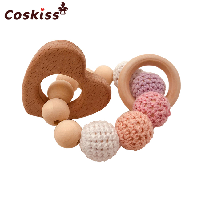 Baby Care Bracelets Wooden Teether Crochet Chew Beads Teething Wooden Rattles Toy Teether Montessori Bracelets