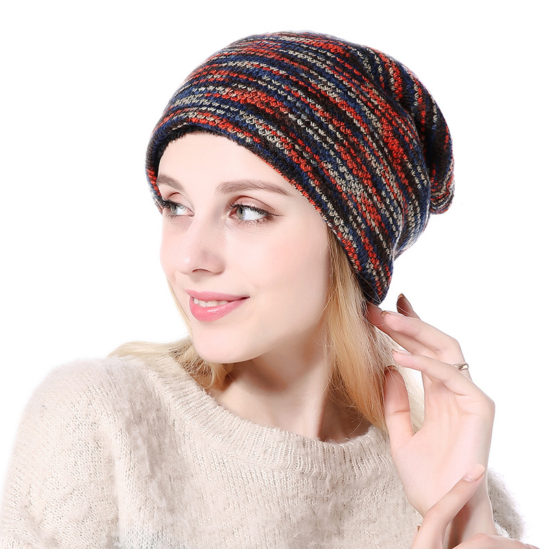 [SMOLDER]2018 Winter Fashion  slovenly knitted mix color card hat for girl Women Beanie