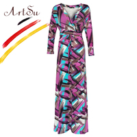 ArtSu L 5XL Oversized Women Maxi Dress Abstract Floral Long Dress Vestidos Boho Autumn Slim Belt