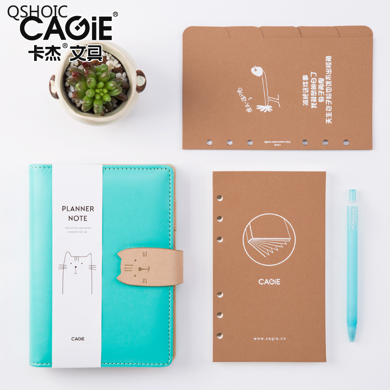 CAGIE Kawaii Diary Planner A6 Binder Cat Leather Journals Travelers Notebook For Girls Filofax Agenda Dividers Journal Intime