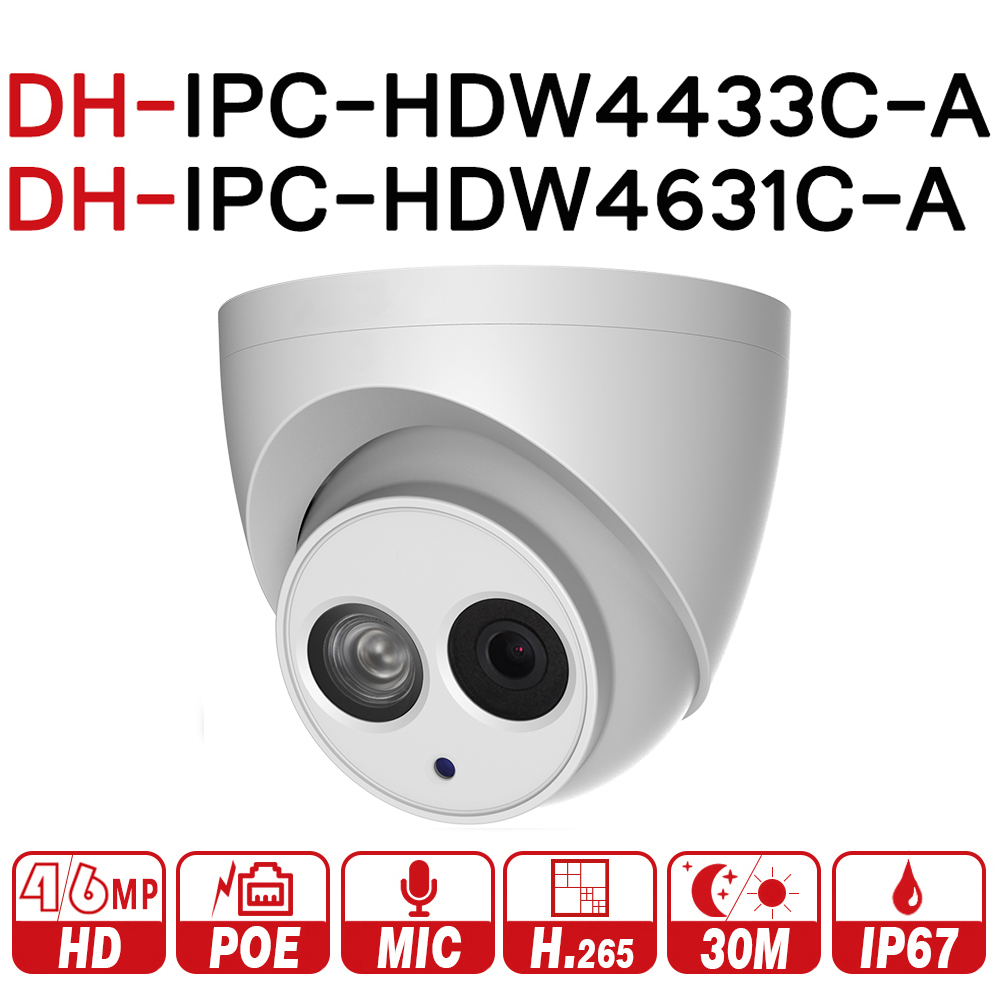 DH IPC-HDW4433C-A IPC-HDW4631C-A 4MP 6MP сети IP Камера POE Встроенный микрофон 30 м ИК Ночное видение WDR Onvifo с логотипом dahua oem