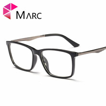 MARC 2019 Fashion Optical Glasses Frame Men TR90 Vintage Square Eyeglasses Clear Lens Metal Resin Brown Light