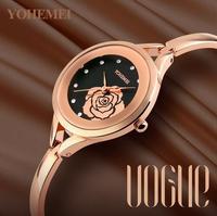 Relogio FemininoYOHEMEI 2017 New Women Watch Luxury Brand Flowers Dial Ladies Watches Gold Analog Bracelet Gift