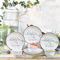 12 Pieces Korean cutlery set ceramic tableware creative dinnerware sets home party 45