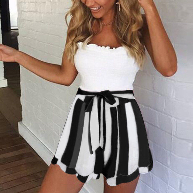 Women Elastic High Waist 2018 Summer Casual Boho Striped   Shorts   Sexy Skirts   Shorts   Mini Trousers Wide Leg   Short   Feminino
