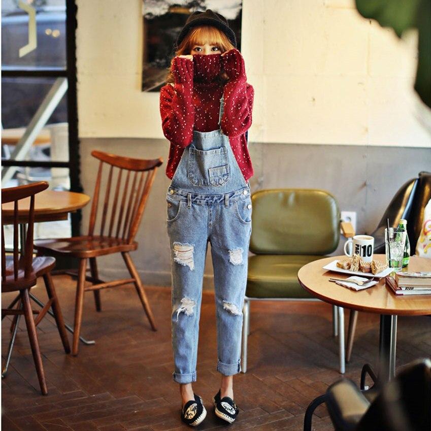 Autumn Winter New American Apparel Style Jeans For Women Slim Thin Denim Overalls Korean Women Ripped Bib Overalls Pants