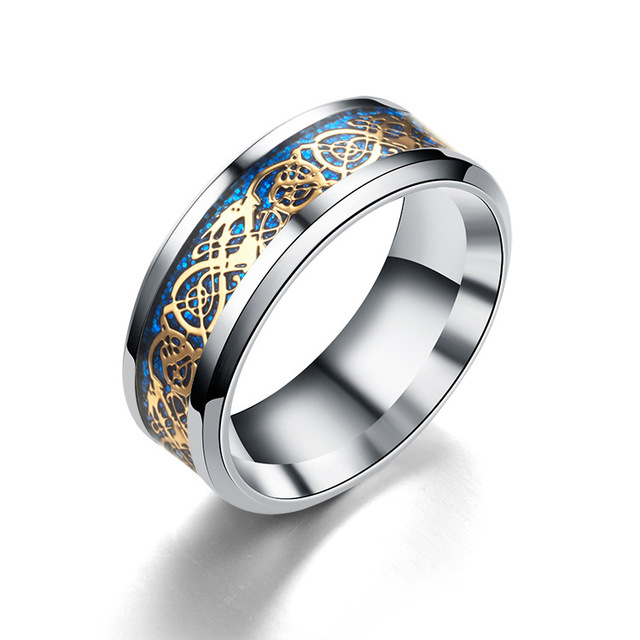 Blue Black Silvering Irish Dragon Titanium Carbide Ring Wedding Bands 3