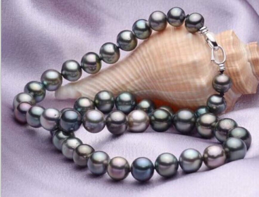 Здесь продается  elegant9- 10mm tahitian black red green multicolor pearl necklace 18  Ювелирные изделия и часы