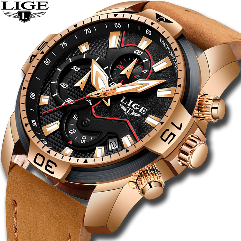 2020 New LIGE Mens Watches Top Brand Luxury Men Casual Leather Quartz Clock Male Sport Waterproof Watch Relogio Masculino