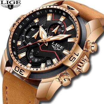 2020 New LIGE Mens Watches Top Brand Luxury Men Casual Leather Quartz Clock Male Sport Waterproof Watch Relogio Masculino - discount item  91% OFF Men's Watches