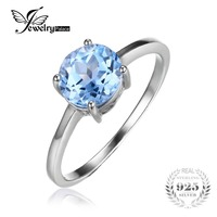 JewelryPalace Round 1 6ct Natural Sky Blue Topaz Birthstone Solitaire Ring Genuine 925 Sterling Silver Jewelry