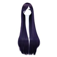 Cosplay Wig Synthetic-Hair-Wigs Black Pink Dark-Brown Straight Long Purple Blue 100cm