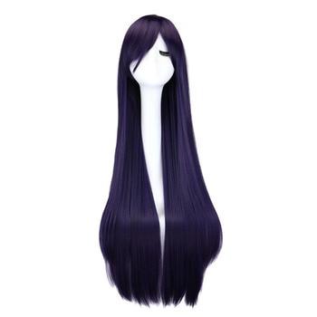 цена на QQXCAIW Long Straight Cosplay Wig Black Purple Black Red Pink Blue Dark Brown 100 Cm Synthetic Hair Wigs