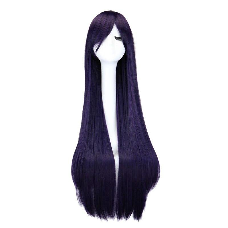 Qqxcaiw longa reta peruca cosplay preto roxo preto vermelho rosa azul marrom escuro 100 cm perucas de cabelo sintético