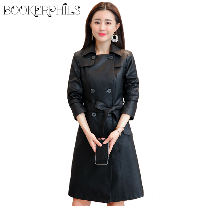 2018 Autumn Winter Women   Leather   Jackets Plus Size Black Soft Faux   Leather   Jacket Outerwear Female Coat Women's Windbreaker 4XL