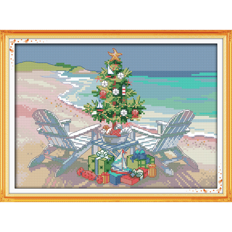 Everlasting love Christmas tree Ecological cotton Cross Stitch 11CT 14CT stamped Printed DIY gift new year decorations for home