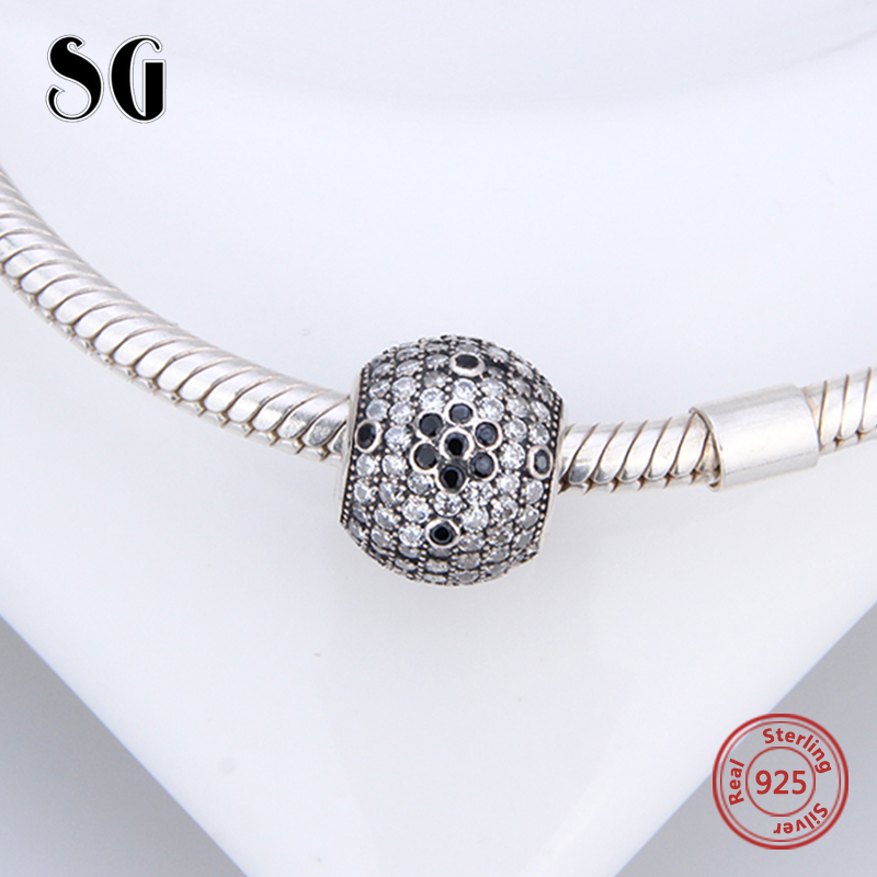 Fit Authentic pandora charm bracelet silver 925 original Antique beads with cubic zirconia diy Jewelry making for women gifts