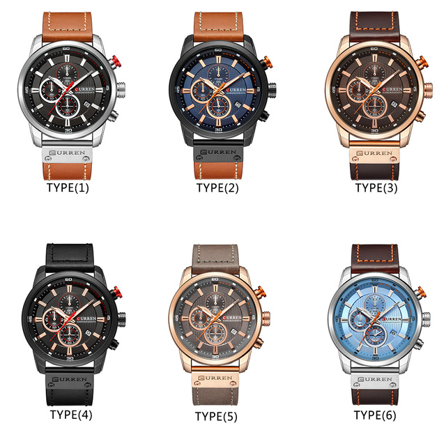 CURREN Men's Luxury Casual Chronograph Waterproof Date Genuine Leather Watches 5