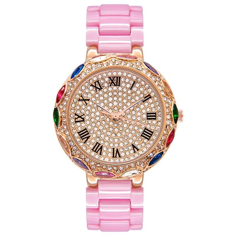 Top luxe décontracté diamant bracelet femmes montres nouveau bracelet en céramique robe montre de mode coloré strass femmes montre