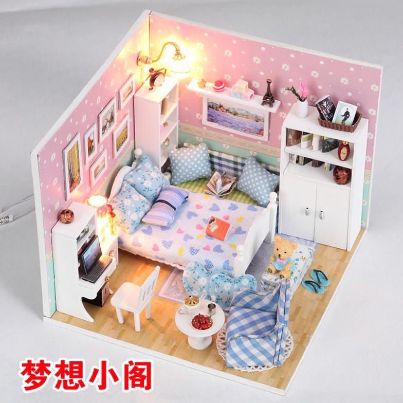 tienda online regalo de la muchacha diy dollhouse lodge sueo pequeo pabelln montaje manual de construccin juguetes modelo de casa pequea muchacha