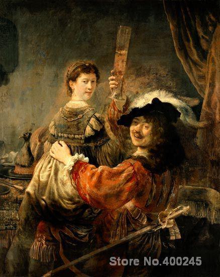 Rembrandt van Rijn Auto portrait de l'artiste avec son jeune femme Saskia fils Prodigue Peinture À l'huile de Haute qualité À La Main peint