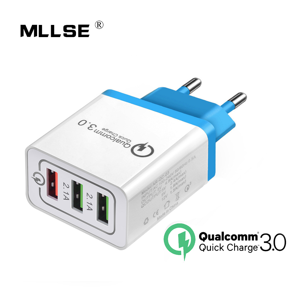 3 Ports Quick Charge 3.0 USB Charger Power Adapter for iPhone iPad Samsung Xiaomi LG HTC