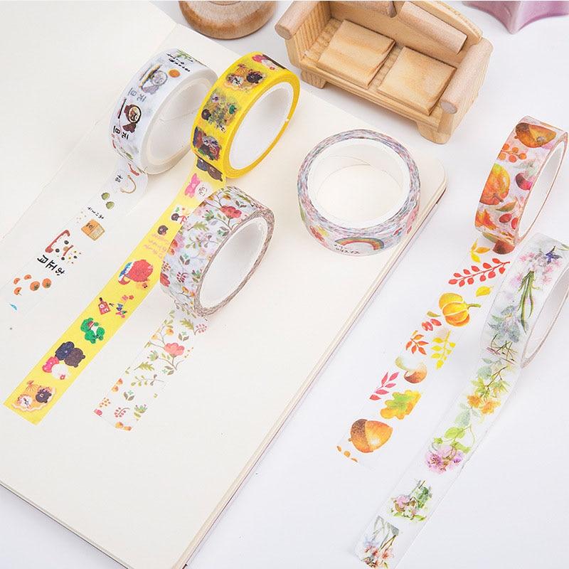 15mm * 7m DIY Cute Kawaii Flower Decorative Washi Tape Cartoon Cat Adhesive Masking Tape For Photo Album Free Shipping 3473