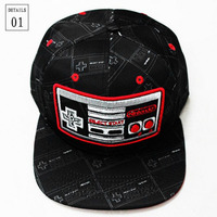 Classic Style Nintendo Cosplay Cap Black Gamepad Novelty Unisex Dress 3D Embroidery Hat Charms Props Summer