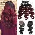 Peruvian Virgin Hair with Closure 3 pcs 1B/99J Burgundy Ombre Hair with Closure Peruvian Body Wave with Closure Human Hair Weave
