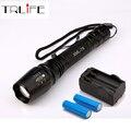 6000LM Фонарик LED CREE XM-L T6 Факел Масштабируемые Фокус Тактический Фонарь Кемпинг Свет Лампы + 2x18650 Батарея + зарядное устройство
