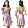 2016 New Arrival 100% High Grade Silk Satin Women Nightgown Sexy Nightie Light Purple / Purple / Dark Purple Ladies Nightwear