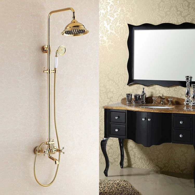 European Style Golden Shower Antique Full Copper Retro Bathroom With Ceramics Hand Shower Single Handle Wall Mounted