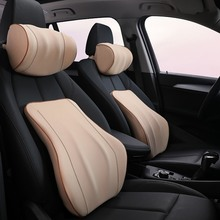 1PCS Car Headrest Neck Pillow For Seat Chair Memory Foam Cotton Cushion Fabric Cover