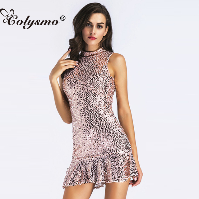 Colysmo High Neck Summer Dress 2018 Sleeveless Sexy Sequin Dress Pink  Sequined Mini Party Club Dresses 65827f414ddb
