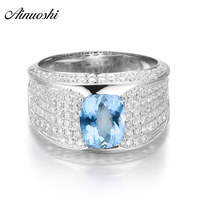 AINUOSHI 1.5 Carat Oval Cut Natural Blue Topaz Ring Pure 925 Sterling Silver Inlaid Diamond Ring Engagement Wedding Jewelry Ring