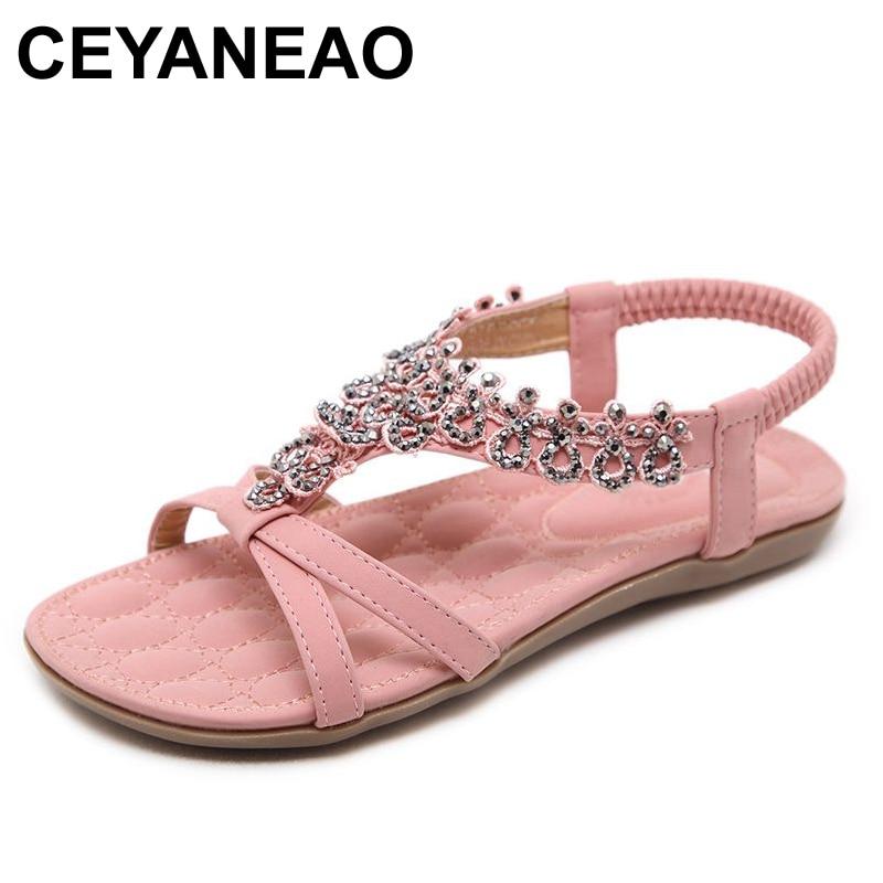 CEYANEAO2018 Summer women sandals bohemia Soft bottom causal flip flops flat shoes Woman plus size fashion sandals ladies shoes