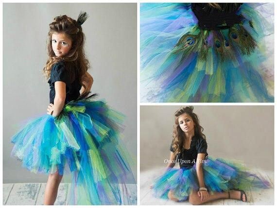 Peacock Feather Bird Bustle Tutu  Skirt With Train Newborn -12 Baby Girl Tutu Skirt Adult Mardi Gras Birthday Halloween Costume