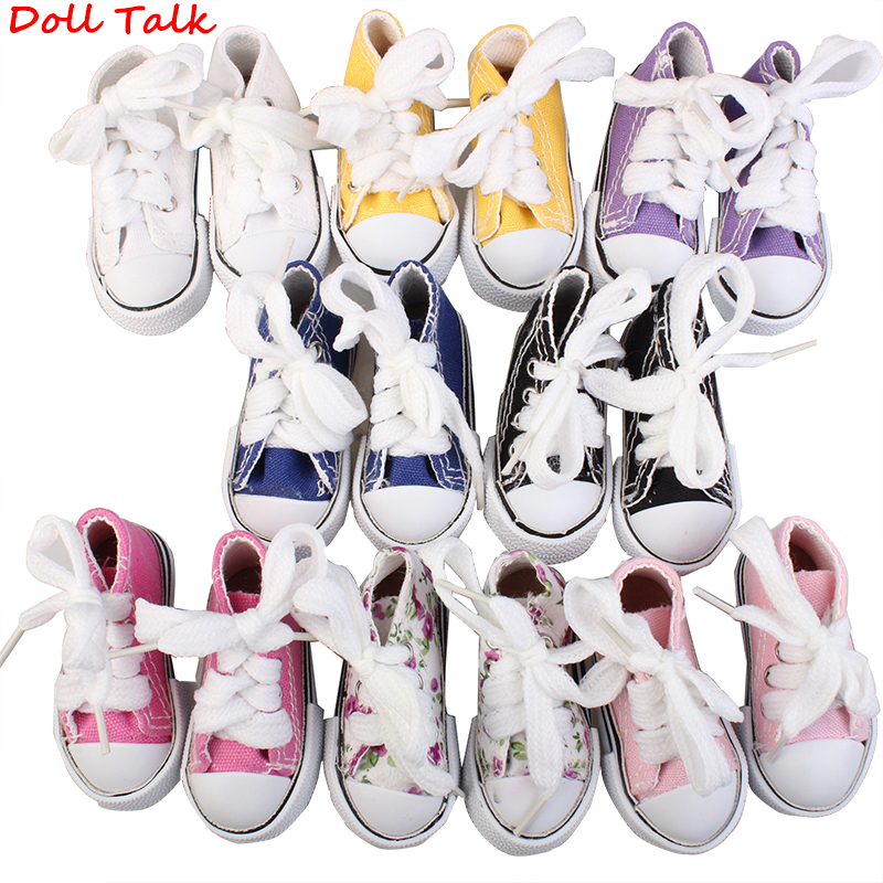 Doll Talk Unisex Shoes Lace-up Doll 7.5cm Canvas Shoes For BJD Doll Fashion Handmade Mini Shoes For Russian Doll Axxessories