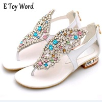 Women S Shoes Colorful Butterfly Rhinestone Genuine Leather Thong Sandals Flat Heel Mixed Colors Leisure Summer